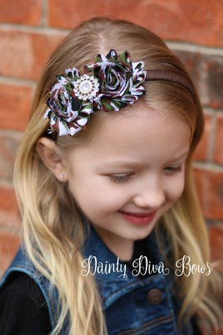 Camo Shabby Flower Headband, Ribbon Wrapped Headband