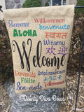 Multi-Language Welcome Garden Flag