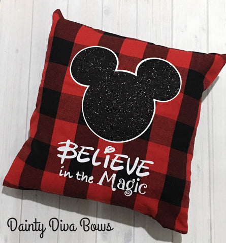 Buffalo Plaid Disney Magic Throw Pillow Cover - 18x18