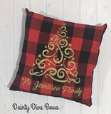 Personalized Christmas Family Name Throw Pillow Cover, Buffalo Plaid - 18x18