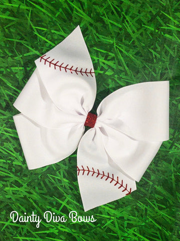 Baseball Hair Bow with Glitter Accents