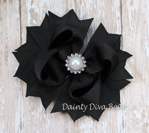 Classic Black Hair Bow with Pearl Center