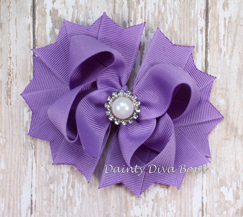 Lavender Class Hair Bow with Pearl Center
