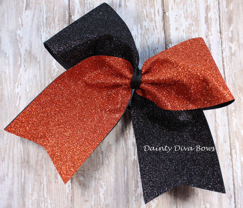 Burnt Orange and Black Large Glitter Cheer Bow