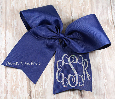 Glitter Monogram or Letter Cheer Bow