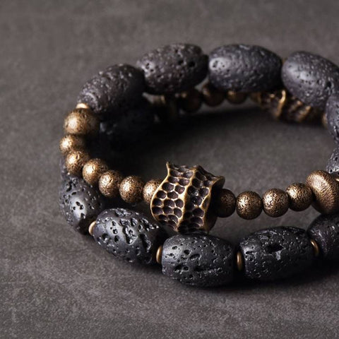 Bean Lava Rock Brass Ox Bone Mala Bracelet | MANTRAPIECE