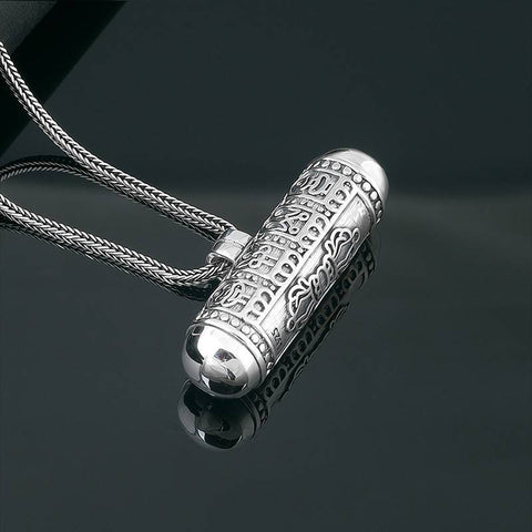 Ashtamangala and Vajra Buddhist Jewelry Silver Scroll Locket | MANTRAPIECE
