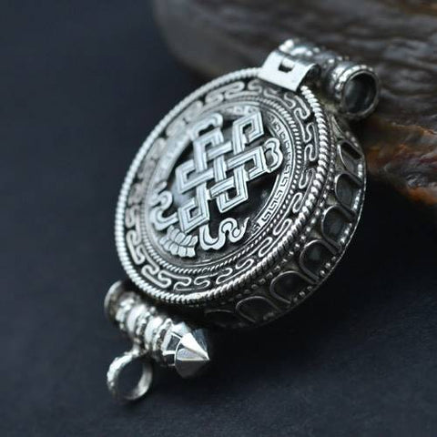 Nepali Jewelry Shrivatsa Silver Scroll Locket | MANTRAPIECE