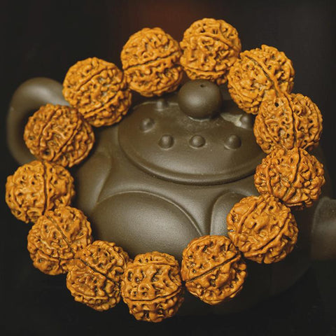 Five Muhki Yellow Rudraksha Wrist Mala for Men - Mantrapiece.com