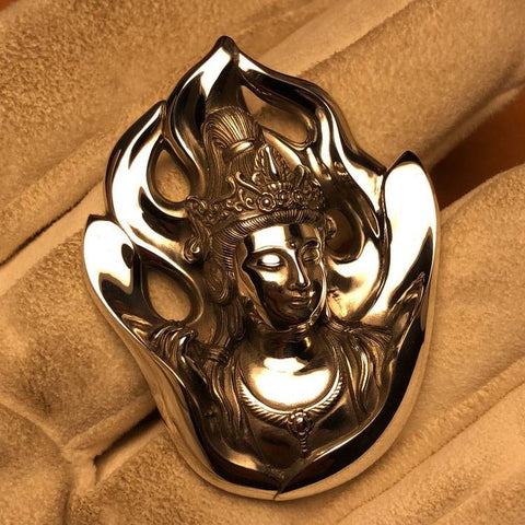 Guanyin Goddess of Mercy Silver Pendant   MANTRAPIECE