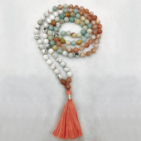 Himalayan Mala Necklace Howlite Ammonite Peach Moonstone | MANTRAPIECE