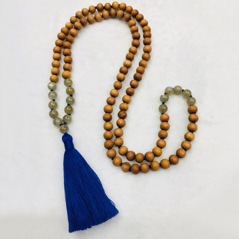 Labradorite Sandalwood Himalayan Mala Necklace | MANTRAPIECE