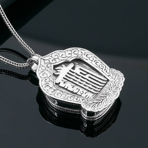 Kalachakra Seed Syllable Tenfold Powerful One Silver Scroll Locket | MANTRAPIECE