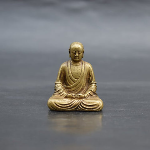 Monk Meditating Dhyana Mudra Pose Antique Brass Statue - Mantrapiece.com