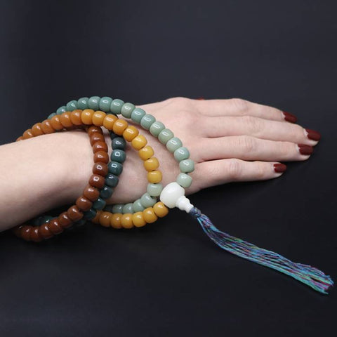 Rainbow Ombre Aged White Bodhi Seed Mala Beads | Mantrapiece.com
