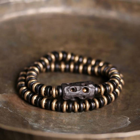Ribbed Brass Black Sandalwood Double Wrap Mala Bracelet | MANTRAPIECE