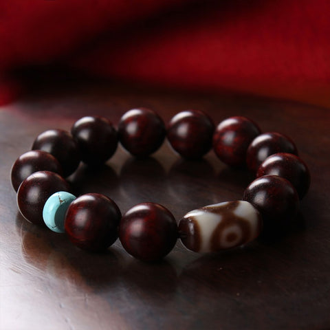 Rosewood Turquoise Three Eyes Dzi Tibetan Mala | MANTRAPIECE