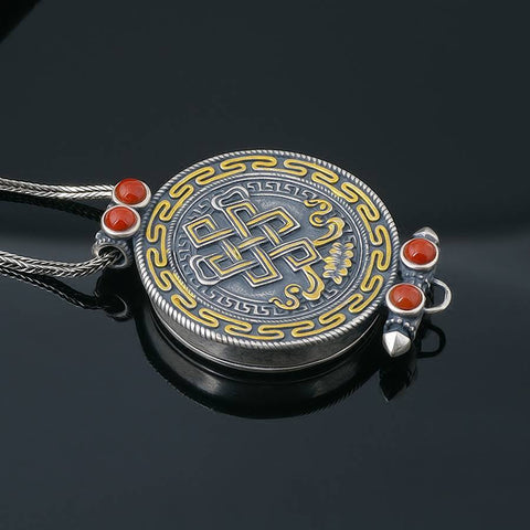 "Shrivatsa ""Endless Knot"" Silver Scroll Locket Buddha Jewelry 