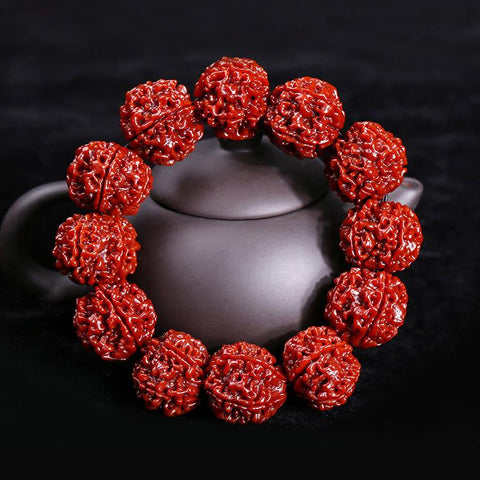 Six Muhki Red Rudraksha Wrist Mala for Men - Mantrapiece.com