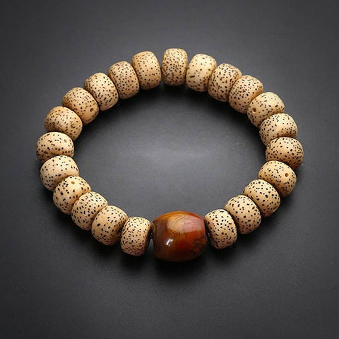 Star and Moon Bodhi Tibetan Red Agate Wrist Mala | Mantrapiece.com