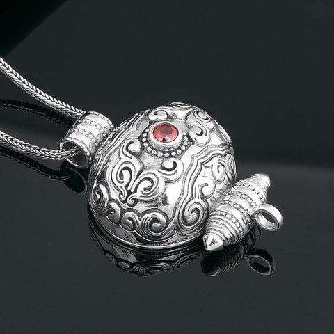 Floral Garnet Signet Silver Scroll Locket Buddha Jewelry | MANTRAPIECE