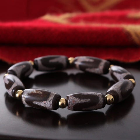 Eight Power Tiger Teeth Dzi Tibetan Mala | MANTRAPIECE