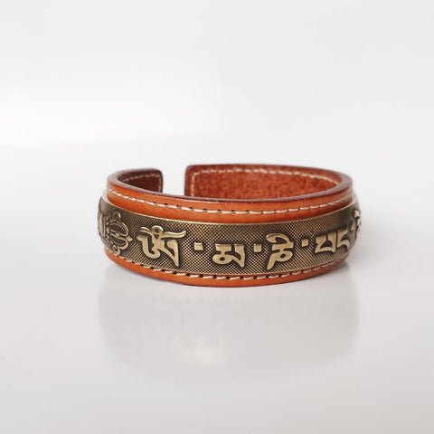 Tibetan Mantra Brass Leather Cuff Bracelet - Mantrapiece.com