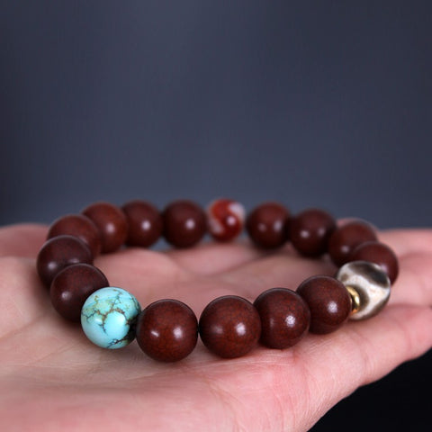 Tibetan Old Bodhi Root Mala Turquoise Tiger Teeth Dzi Bead | Mantrapiece.com