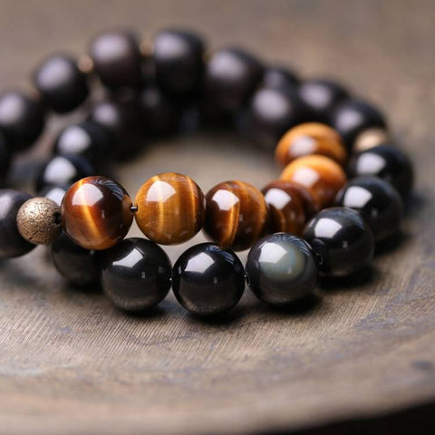 Tiger Eye Obsidian Black Sandalwood Wrist Mala - Mantrapiece.com
