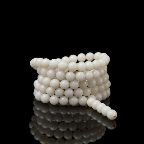 White Bodhi Root Mala 108 Round Beads - Mantrapiece.com