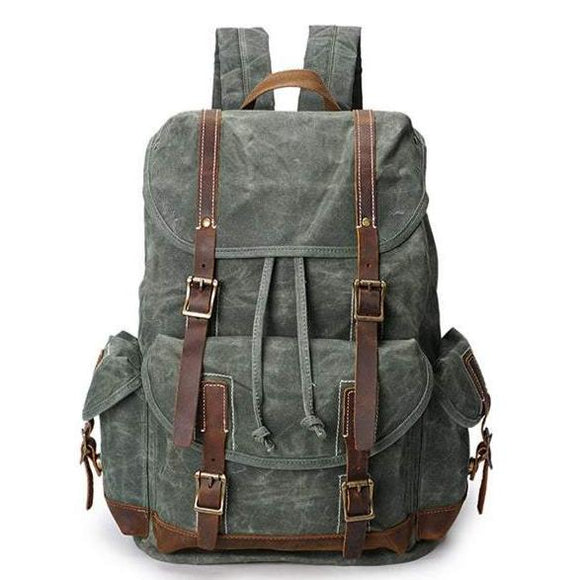 Alpine Canvas & Leather Forest Green Retro Backpack - Flap & Buckle Closure