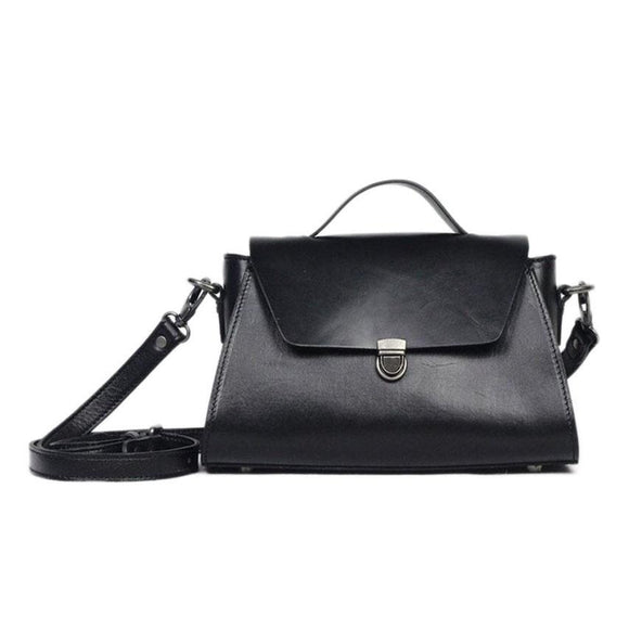 Austin Vegetable-Tanned Leather Crossbody Satchel Purse in Black
