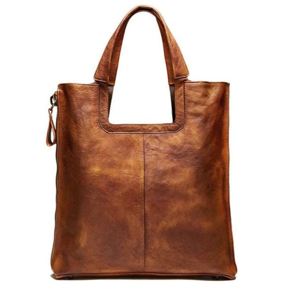 Boulevard | Handmade Distressed Full-Grain Leather Tote Bag | Retro Styling in Cognac