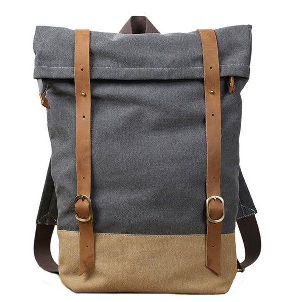 Brooklyn Roll Top Canvas Rucksack, Handcrafted Using Waxed Canvas & Genuine Leather