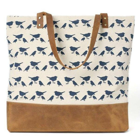 Commuter Waxed Canvas Bird Print Zip Tote