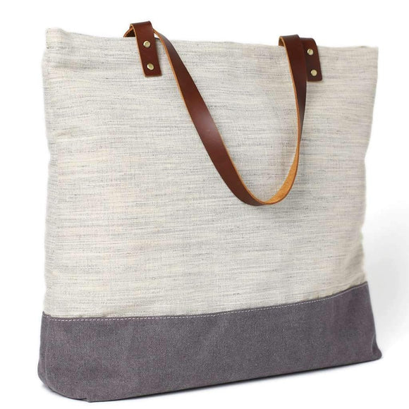 Commuter Waxed Canvas Grey Zip Tote Bag