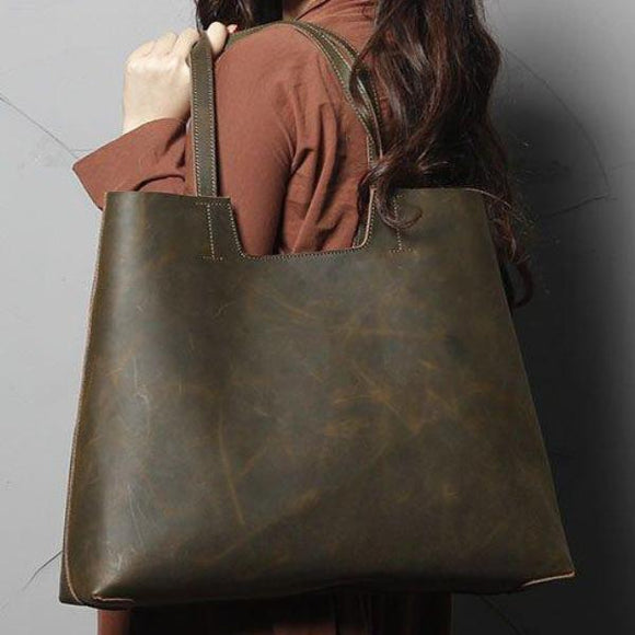 Distressed Green High Quality Genuine Leather Zip Tote Bag