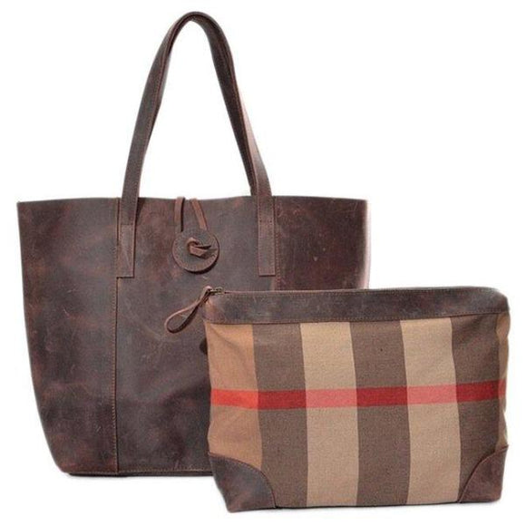 Dorset Rustic Genuine Leather Open Top Tote