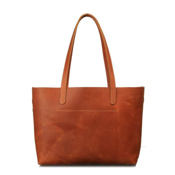 Essentielle | Large Open Top Saddle Brown Leather Tote