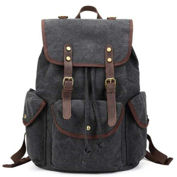 Frontier | Canvas & Leather Retro Backpack | Flap & Drawstring