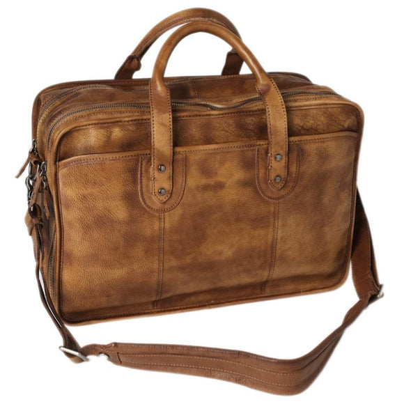 Magnate | Full Grain Handmade Rugged Leather Messenger Briefcase | Two Zip Compartments