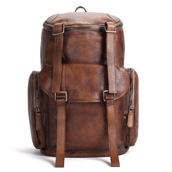 Mountaineer | Large Luxurious Handmade Vintage Brown Leather Backpack