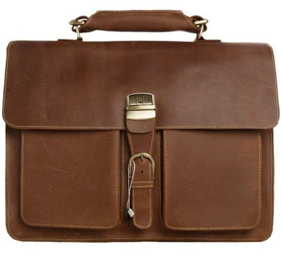 Noble | Vintage Brown Genuine Italian Leather Handmade Bag For Business | Clasp Closure