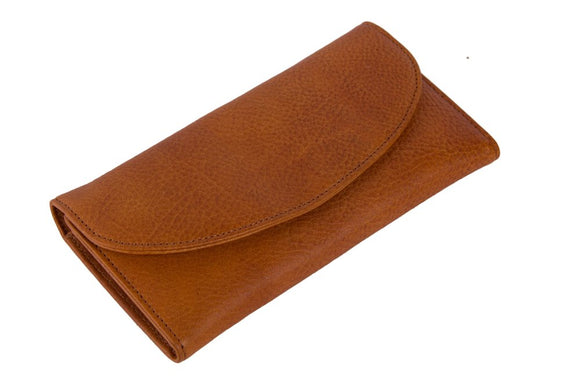 Check Out Our Paramount Rectangular Tan Leather Clutch Wallet With Interior Credit Card Slots, Interior Zippered Closure & Snap-Button Closure