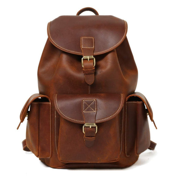 Rover | Handmade Retro Brown Leather Backpack | Flap Top & Drawstring