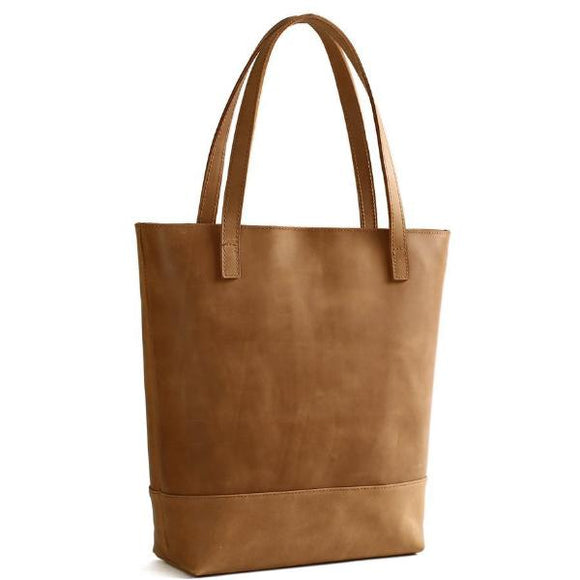 Commuter Tanned Full Grain Genuine Leather Zip Tote Bag