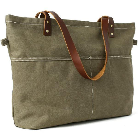 True Traveler Waxed Canvas Green Zip Tote