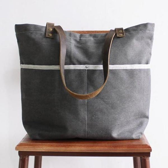 True Traveler Waxed Canvas Grey Zip Tote
