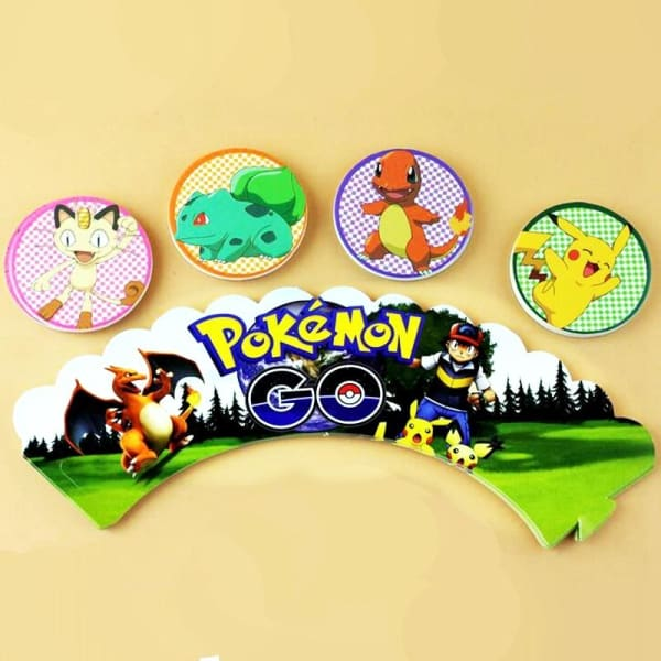120pcs Cartoon Pokemon Pikachu Cupcake wrappers toppers cake cups ...