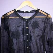 Load image into Gallery viewer, Black Mesh Cardi Top Size UK10/12